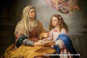 Santa Ana enseñando a leer a la virgen obre de Murillo en la exposición de Velázquez-Murillo en Sevilla