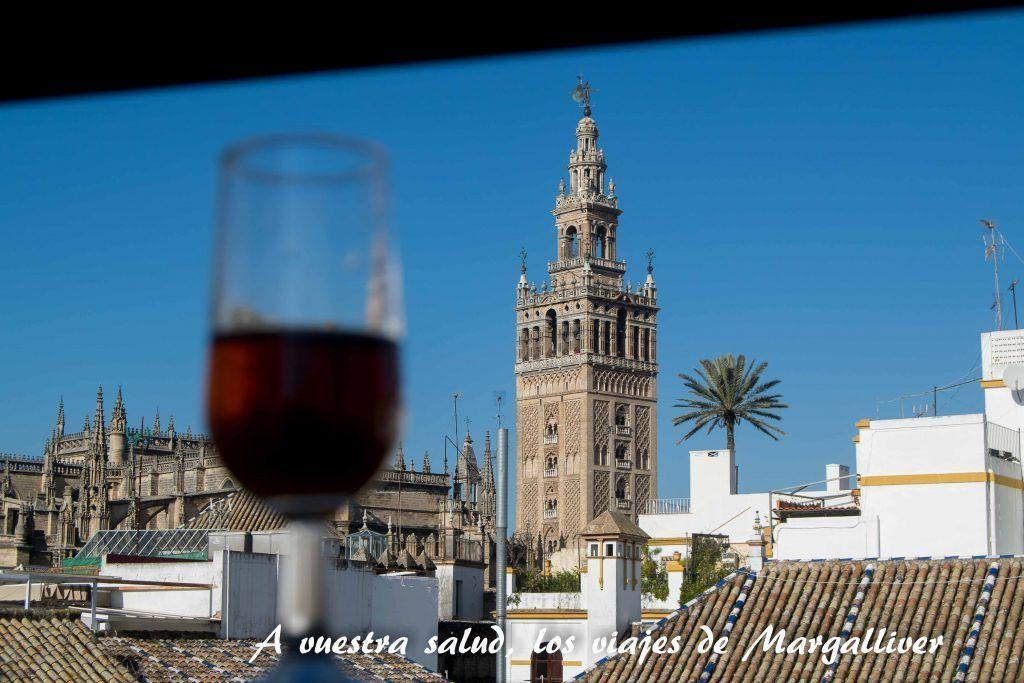 Tomando un vino en la azotea de la casa-museo Amalio en Sevilla - Los viajes de margalliver
