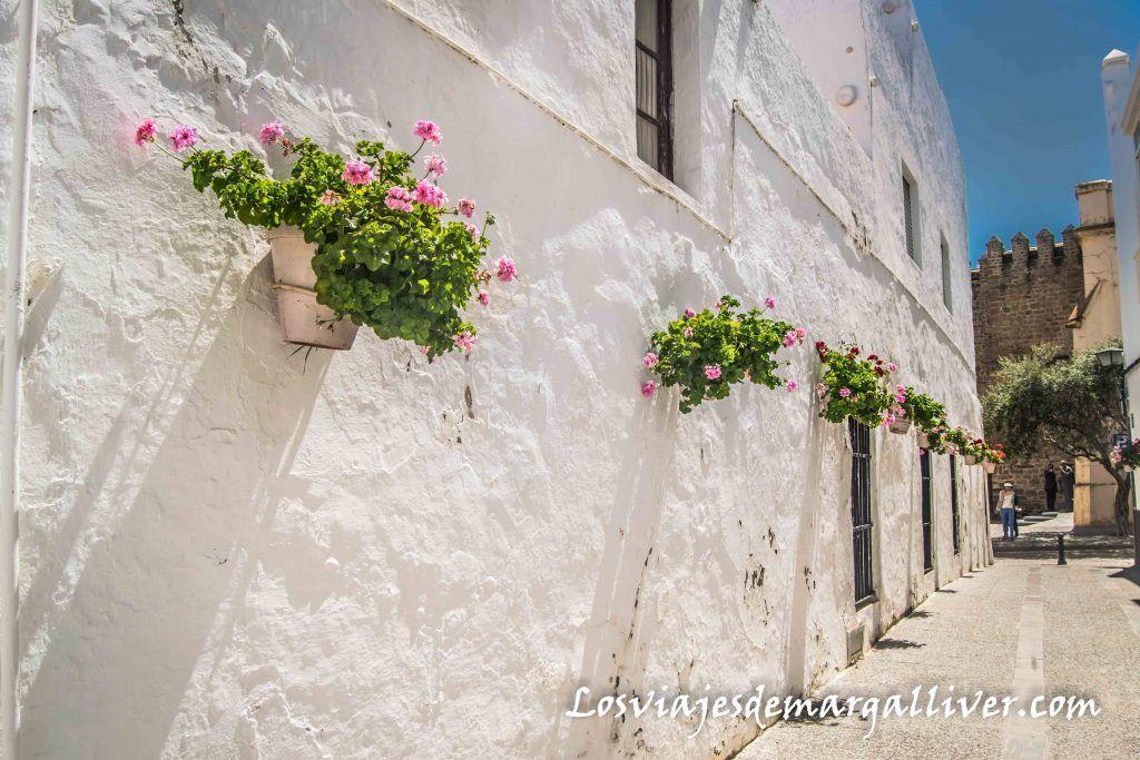 Calle de casas blancas y geranios con el castillo de Luna al fondo, que ver en Rota - Los viajes de Margalliver