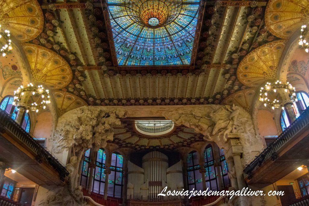 Interior del Palau de la música, Barcelona en 3 días - Los viajes de Margalliver