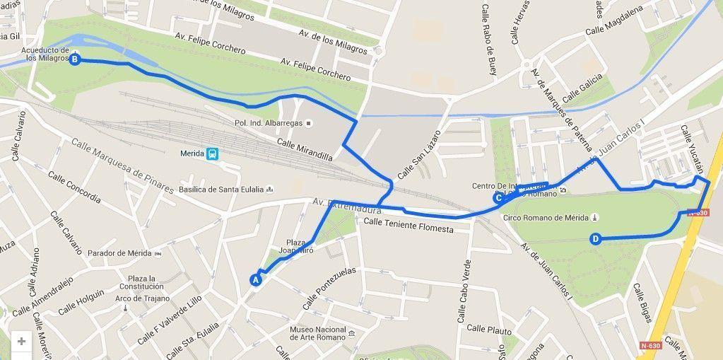 Mapa de la segunda ruta para conocer mérida en un fin de semana - Los viajes de Margalliver
