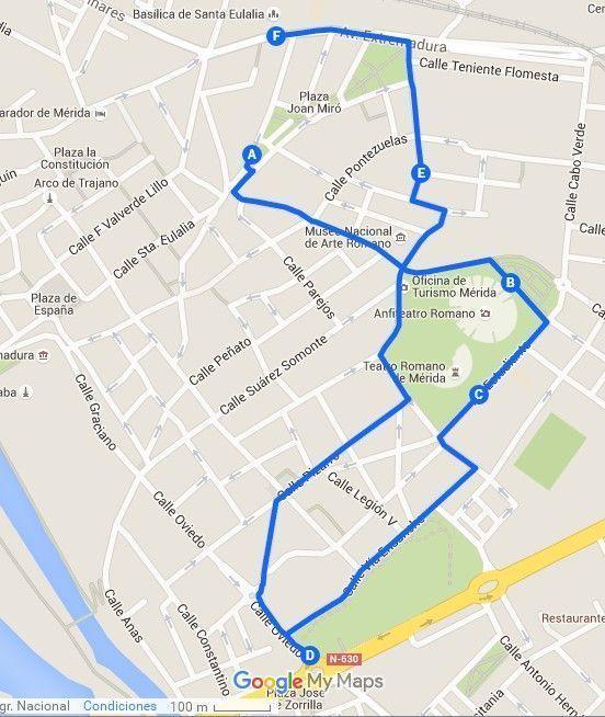Mapa de la tercera ruta para conocer Mérida en dos días - Los viajes de Margalliver