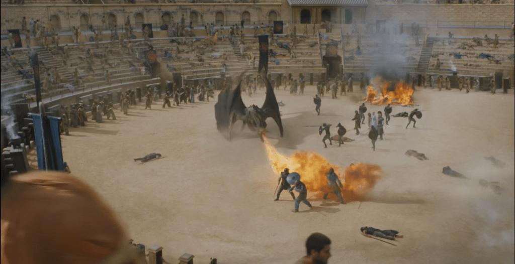 Lucha de Drogon con los hijos de la arpia en Juego de tronos por Andalucía - Los viajes de Margalliver