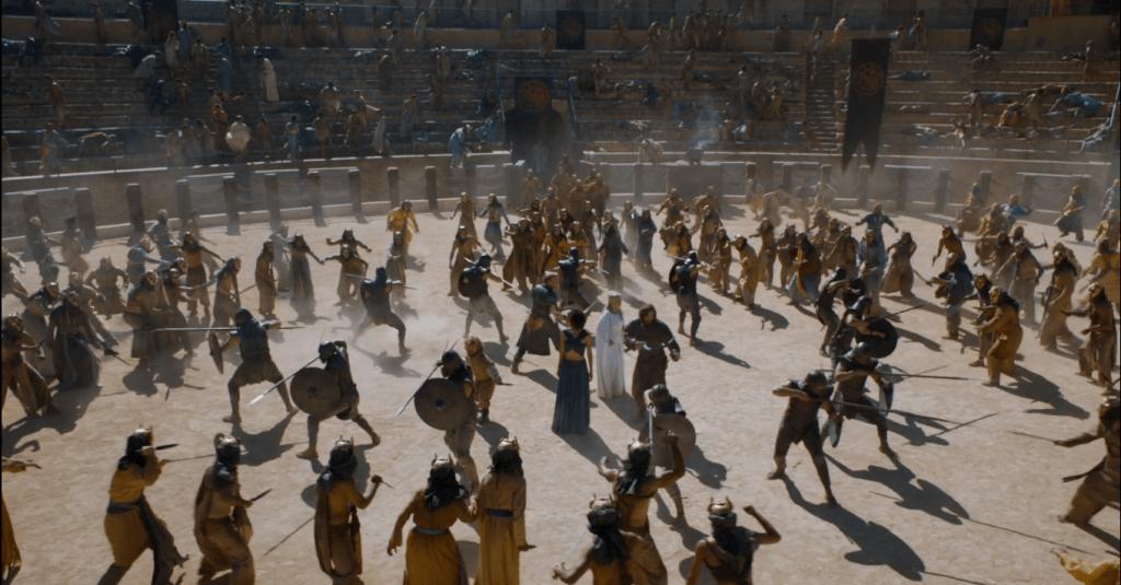 Lucha en la fosa daznak con los hijos de la arpia, en la ruta de juego de tronos por Andalucía - Los viajes de Margalliver