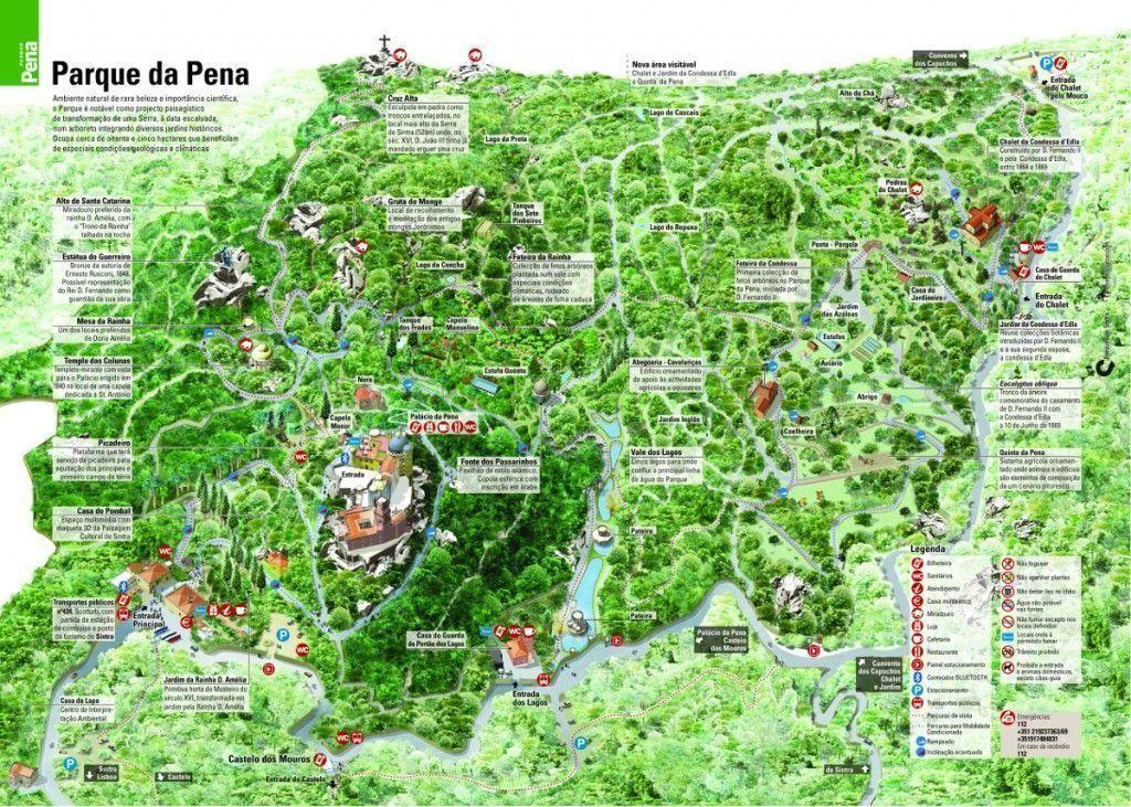 Mapa del Parque da Pena, un lugar para perderte en él, visitar Sintra - Los viajes de Margalliver