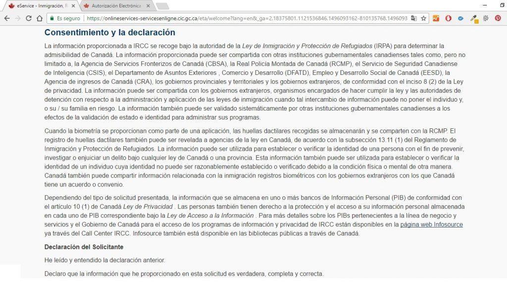 Consentimiento para obtener el ETA para Canadá - Los viajes de Margalliver