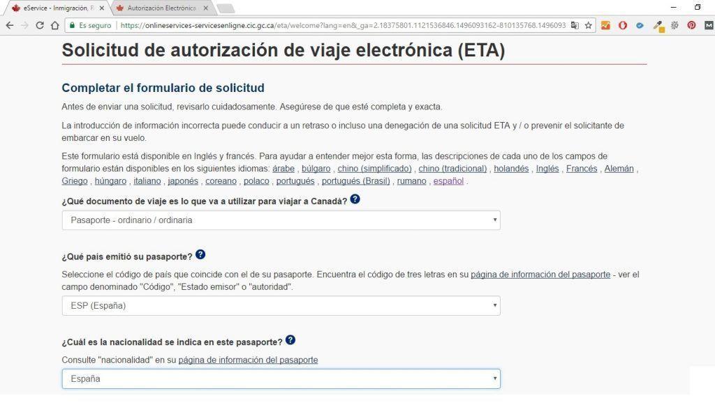 completar formulario de solicitud de autorización de viaje electrónica (ETA) para Canadá -Los viajes de Margalliver