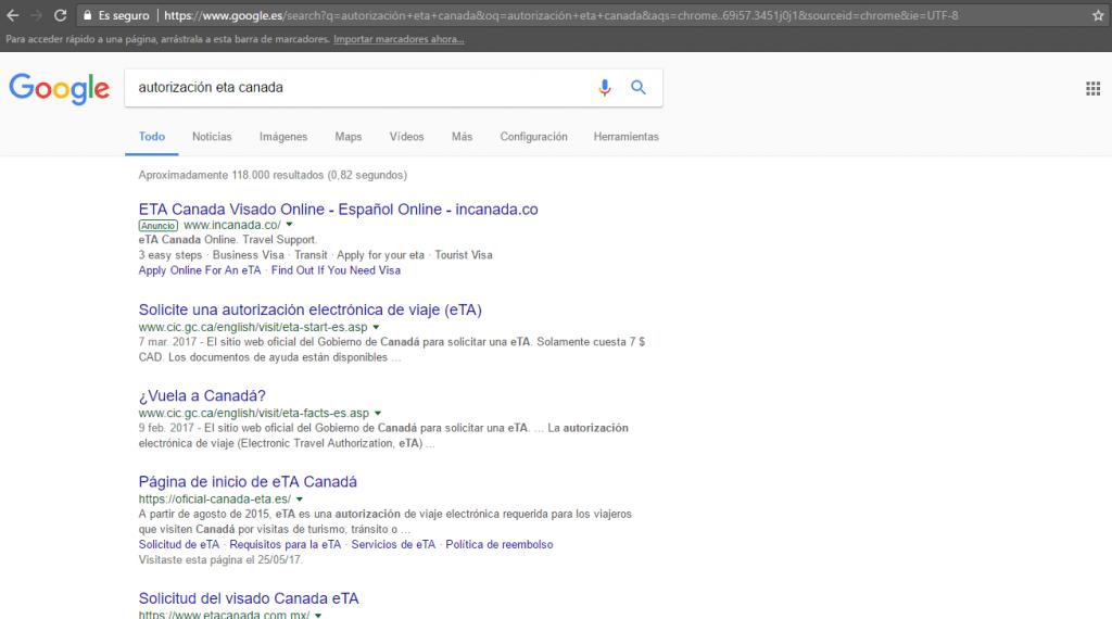 resultado google eTA para Canadá - Los viajes de Margalliver