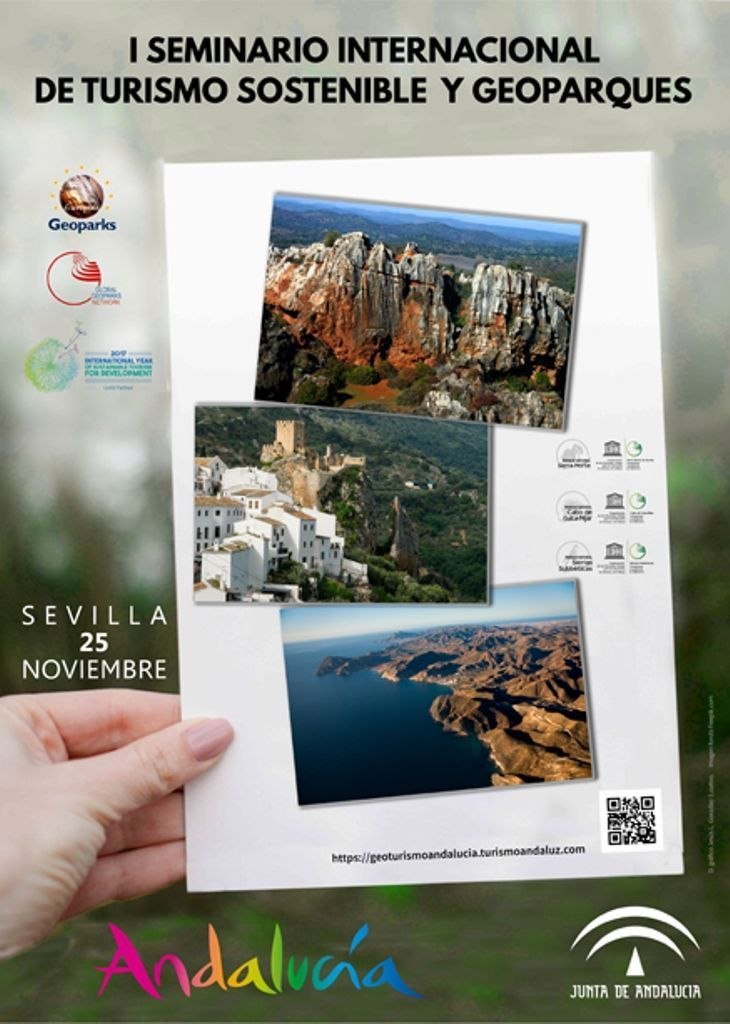 Cartel del seminario internacional de turismo sostenible y geoparques de Andalucía - Los viajes de Margalliver