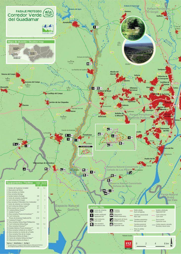 Mapa del corredor verde del guadiamar, Ruta por el rocío en Sevilla - Los viajes de Margalliver