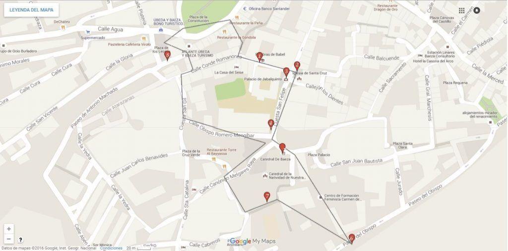 Mapa de la ruta que realizamos en Baeza - Los viajes de Margalliver