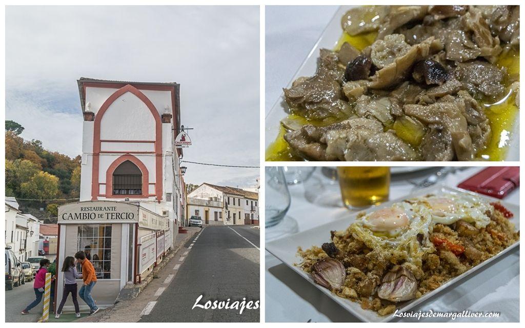 Gastronomía del Restaurante Cambio de Tercio en Constantina ,Geoparques de Andalucía - Los viajes de Margalliver