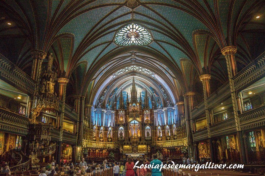 Interior de la Basílica Notre-Dame - 10 cosas que hacer en Montreal - Los viajes de Margalliver