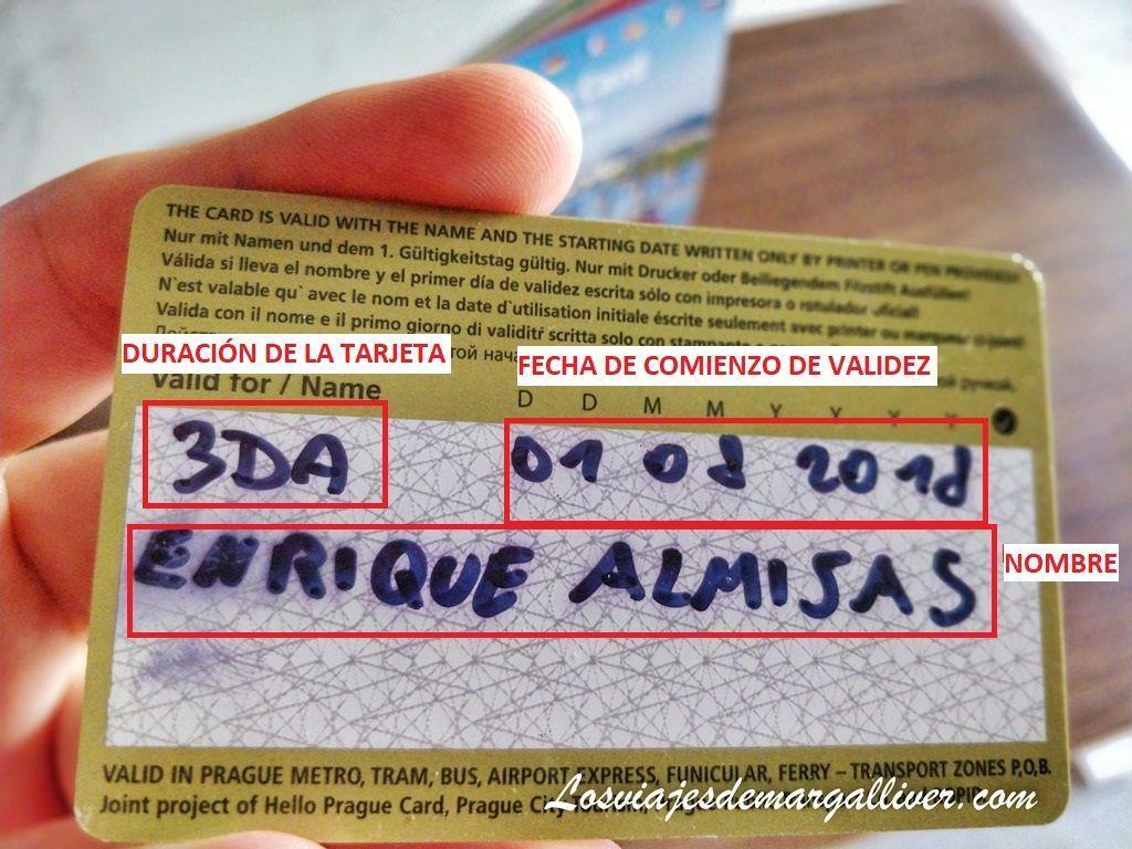 Detalle de como rellenar la Prague Card - Los viajes de Margalliver