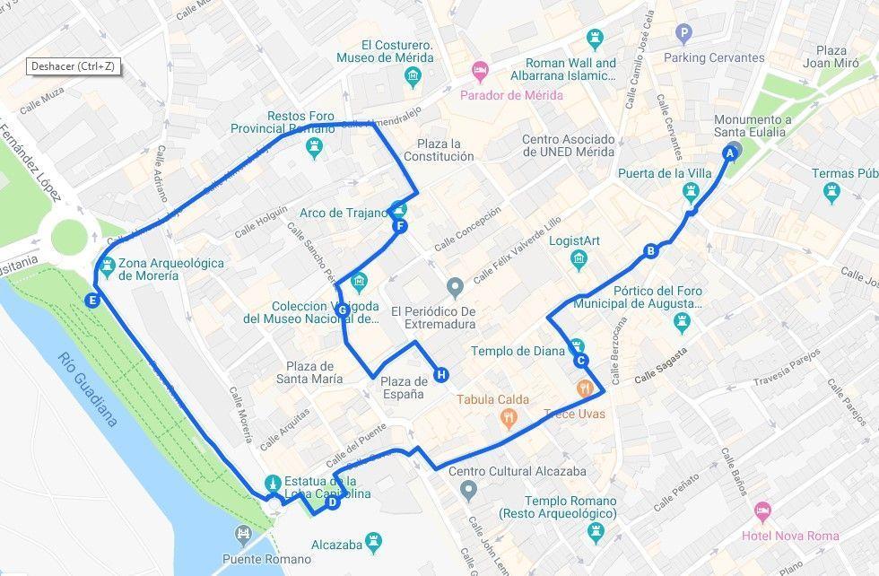 Mapa ruta del primer día, Mérida en dos días - Los viajes de Margalliver
