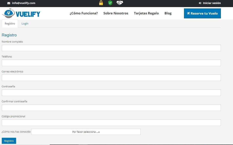 registro en Vuelify, tu web para comprar billetes de avión a plazos - los viajes de Margalliver