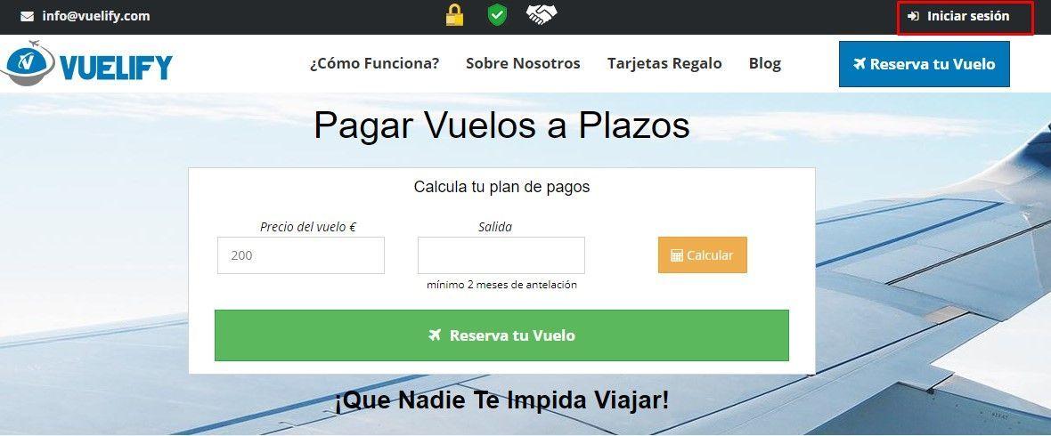Iniciar sesión en Vuelify, tu web para comprar vuelos a plazos - Los viajes de Margalliver