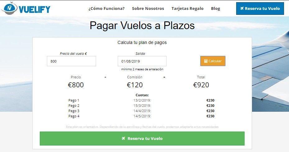 plan de pagos de ejemplo de vuelos pagados a plazos - los viajes de margalliver