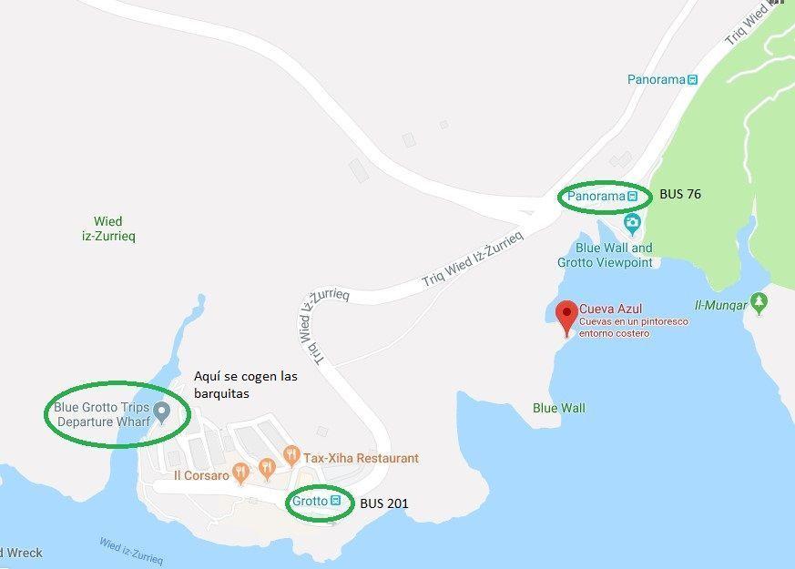 mapa de la blue grotto en Malta- Los viajes de Margalliver