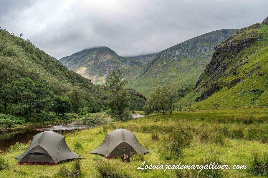Camping Valle Glen Nevis en Fort Williams en Steall Waterfalls en Escocia - Los viajes de Margalliver