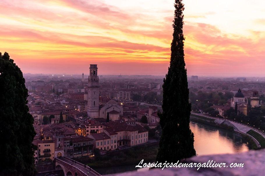 espectacular atardecer en Verona , resumen de viajes del 2019 - Los viajes de Margalliver