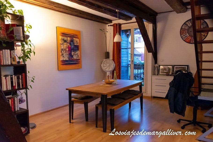 Salón de nuestro apartamento en Colmar con HomeExchange - Los viajes de Margalliver