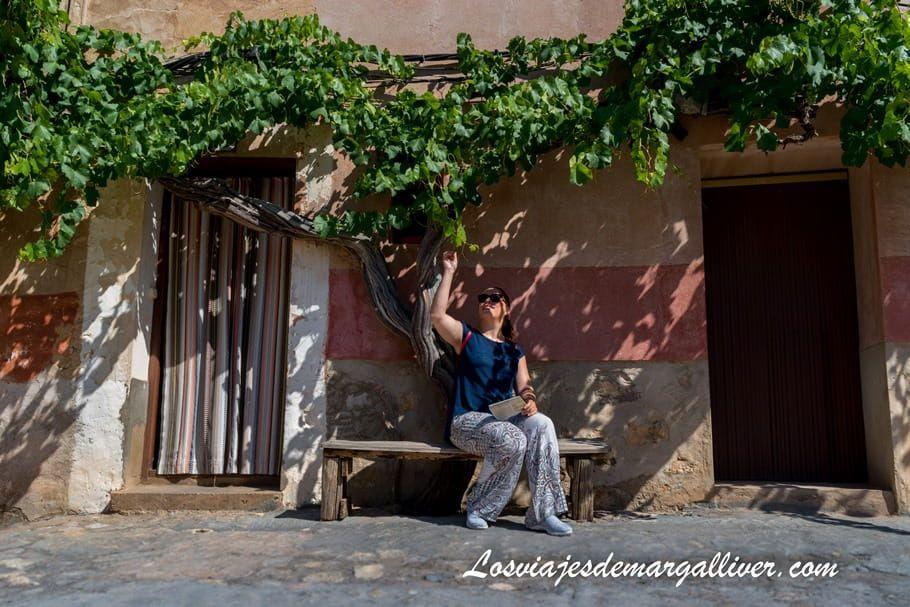 Margalliver sentada sobre la sombra de una parra - Los viajes de Margalliver