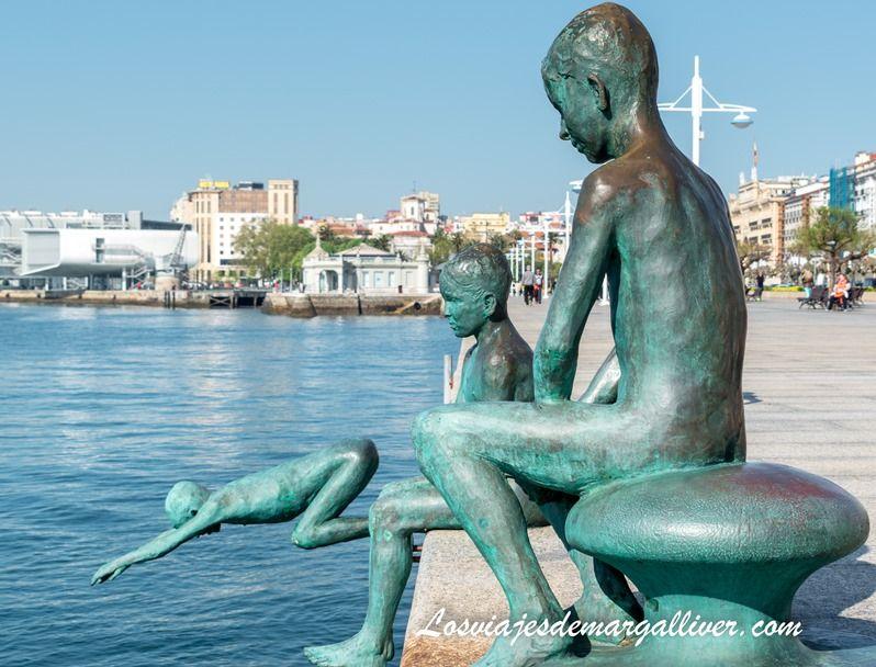 estatuas de los niños raqueros de Santander - los viajes de Margalliver