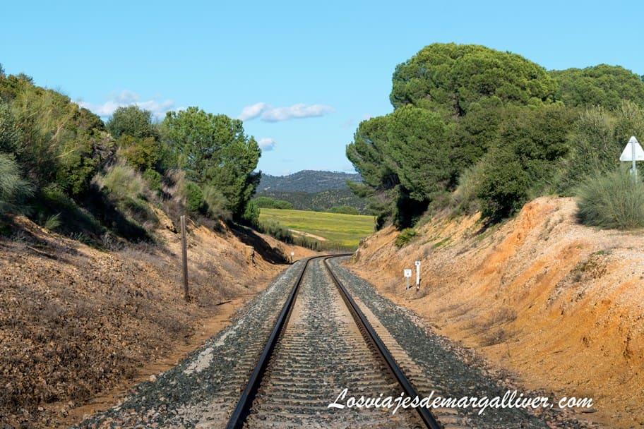 Vía del tren que tenemos siempre a nuestro lado en la ruta de senderismo a Munigua - Los viajes de Margalliver
