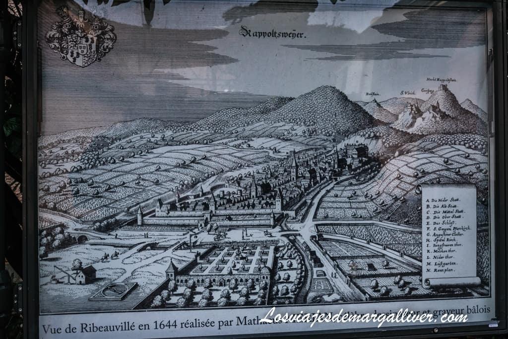 Plano de Ribeauville de 1644 donde podemos ver en las montañas los 4 castillos de Ribeauville - Los viajes de Margalliver